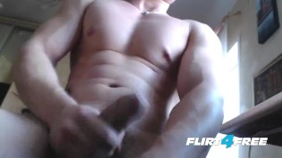 Flirt4Free Guys – Harry Flirt Shows Off His Muscles, Tight Ass and Big Uncut Cock